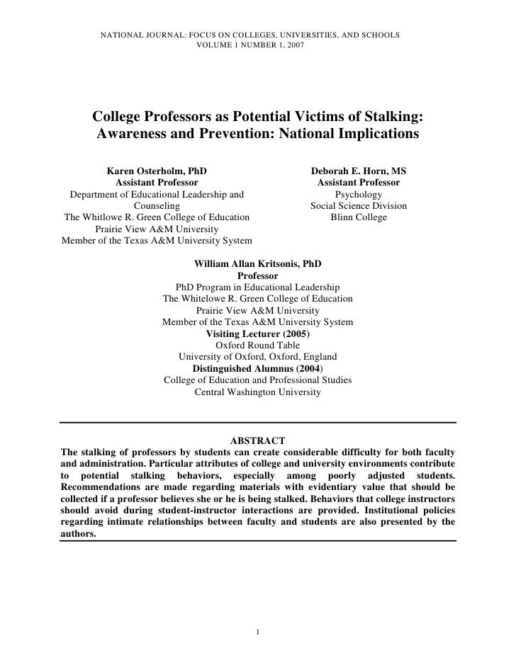 NATIONAL JOURNAL: FOCUS ON COLLEGES, UNIVERSITIES, AND SCHOOLS                            VOLUME 1 NUMBER 1, 2007       Co...