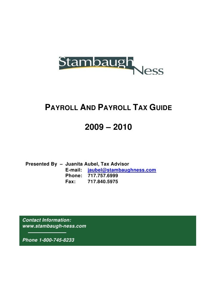 Stambaugh Ness Payroll Manual 2009 2010