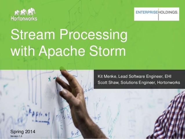 Stream Processing with Apache Storm Spring 2014 Version 1.0 Kit Menke, Lead Software Engineer, EHI Scott Shaw, Solutions E...