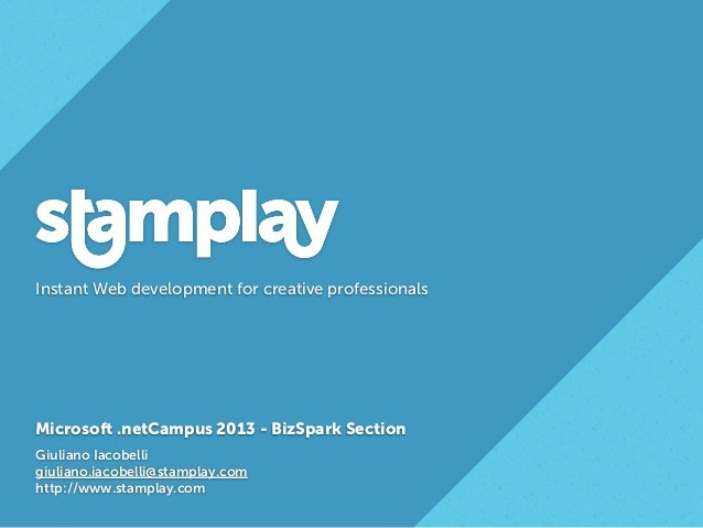 Stamplay: Scale your business with Microsoft Bizspark and Windows Azure