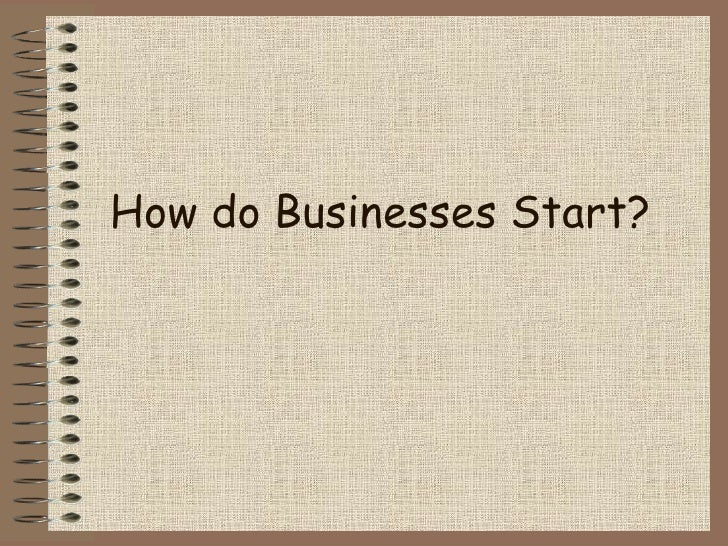 Standard Grade Business Management - How Do Businesses Start?