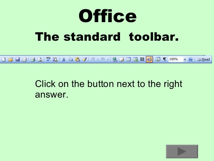 Standard Toolbar Prep Test