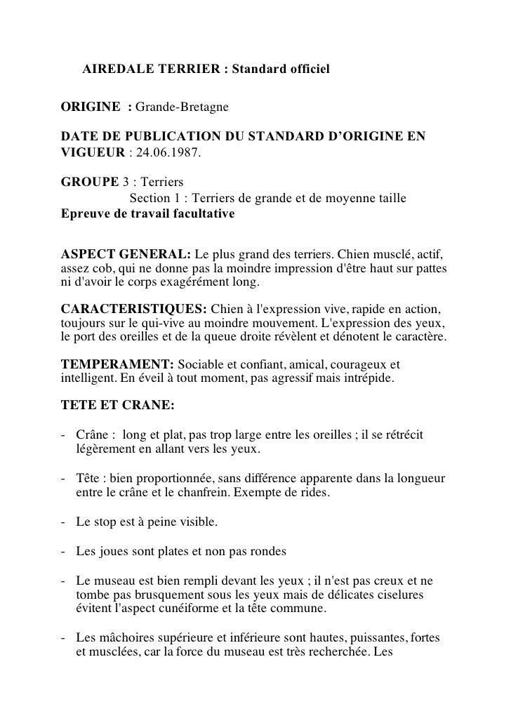 AIREDALE TERRIER : Standard officielORIGINE : Grande-BretagneDATE DE PUBLICATION DU STANDARD D'ORIGINE ENVIGUEUR : 24.06.1...