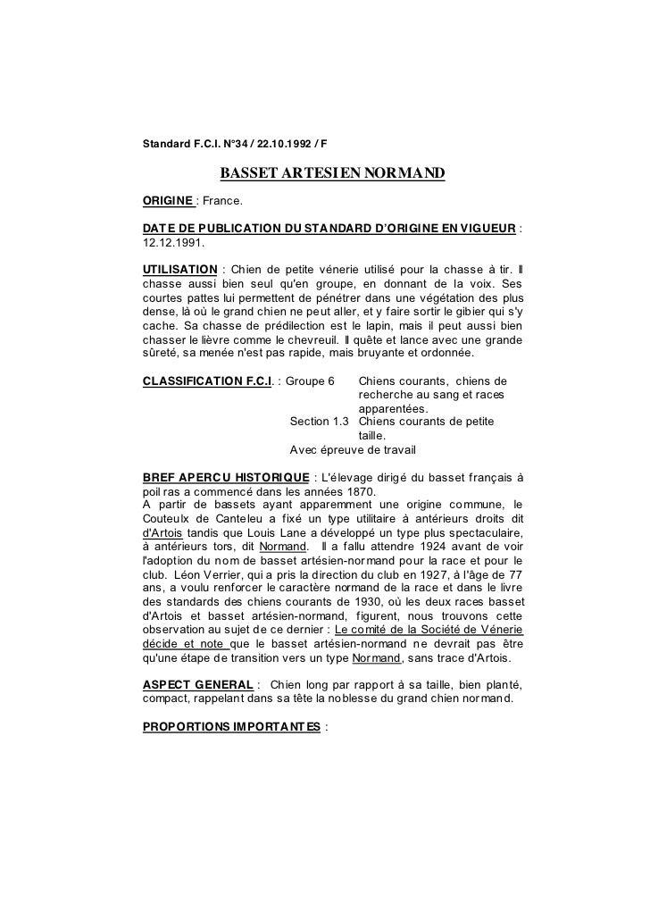 Standard F.C.I. N°34 / 22.10.1992 / F               BASSET ARTESI EN NORMANDORIGINE : France.DAT E DE PUBLICATION DU STAND...