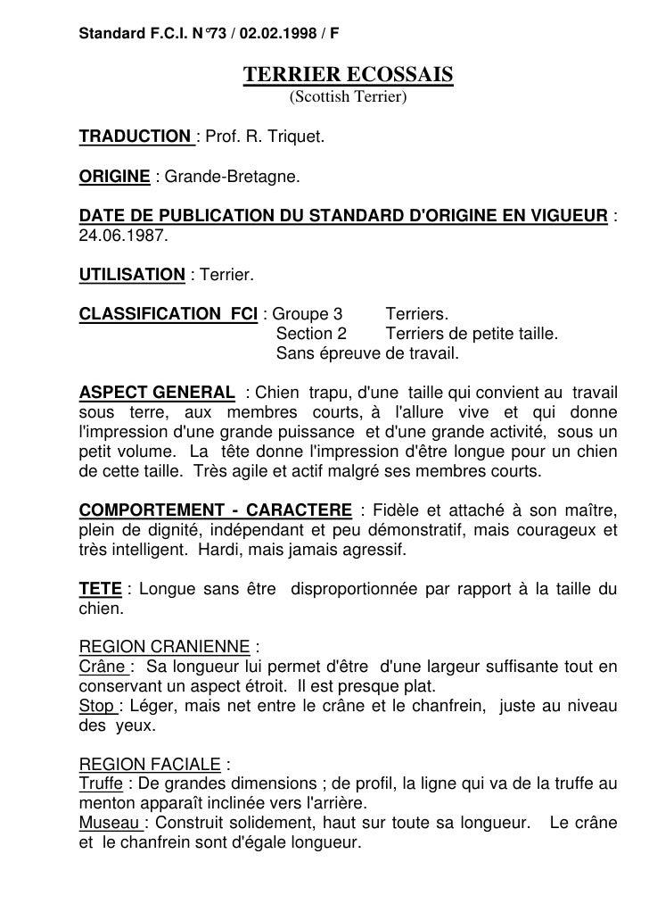 Standard F.C.I. N°73 / 02.02.1998 / F                       TERRIER ECOSSAIS                             (Scottish Terrier...