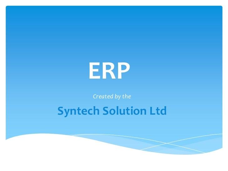 Introducing ERP Solution | Syntech Solution Ltd