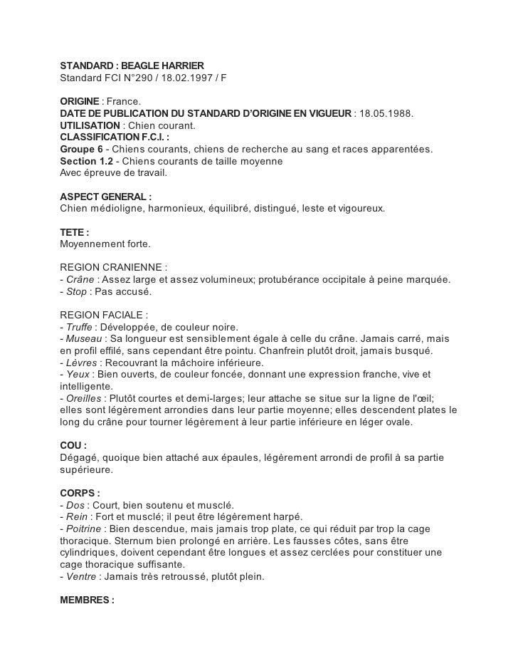 STANDARD : BEAGLE HARRIERStandard FCI N°290 / 18.02.1997 / FORIGINE : France.DATE DE PUBLICATION DU STANDARD D'ORIGINE EN ...