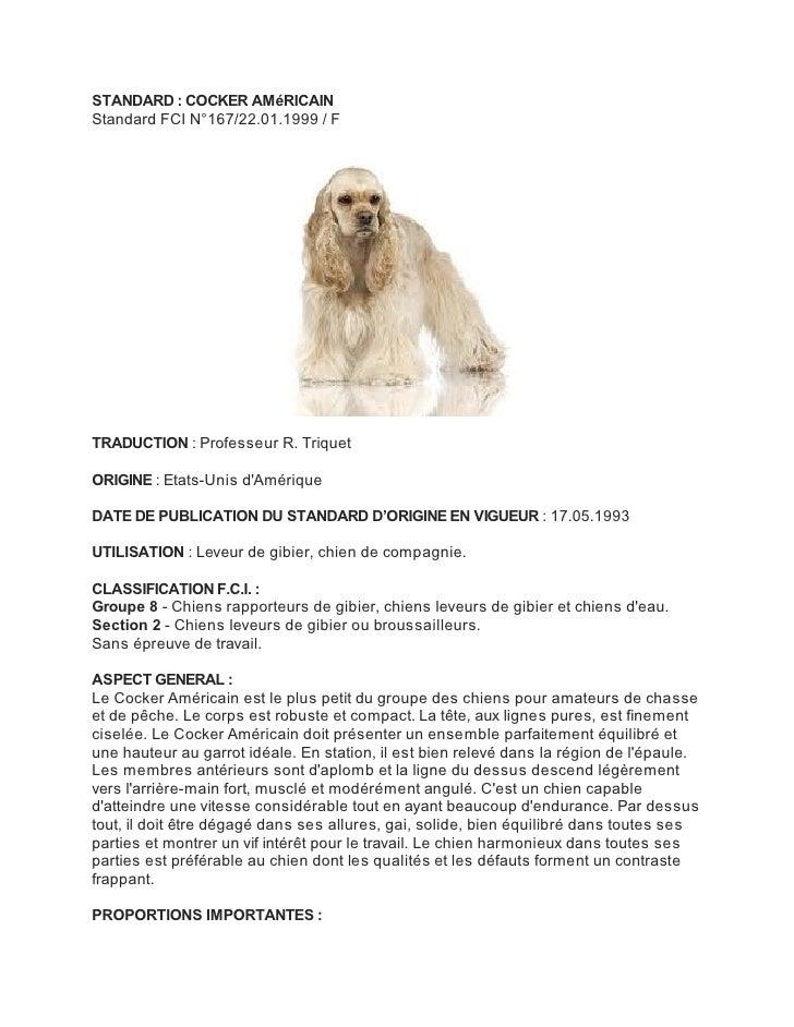 STANDARD : COCKER AMéRICAINStandard FCI N°167/22.01.1999 / FTRADUCTION : Professeur R. TriquetORIGINE : Etats-Unis dAmériq...