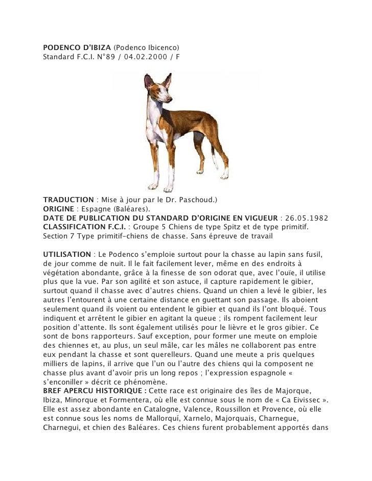 PODENCO D'IBIZA (Podenco Ibicenco)Standard F.C.I. N°89 / 04.02.2000 / FTRADUCTION : Mise à jour par le Dr. Paschoud.)ORIGI...