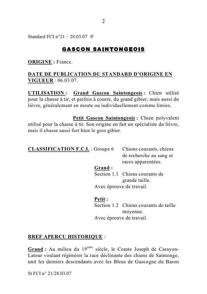 2Standard FCI n°21 / 28.03.07 /F                GA S C O N SA I N T O N G E O ISORIGINE : France.DATE DE PUBLICATION DU ST...