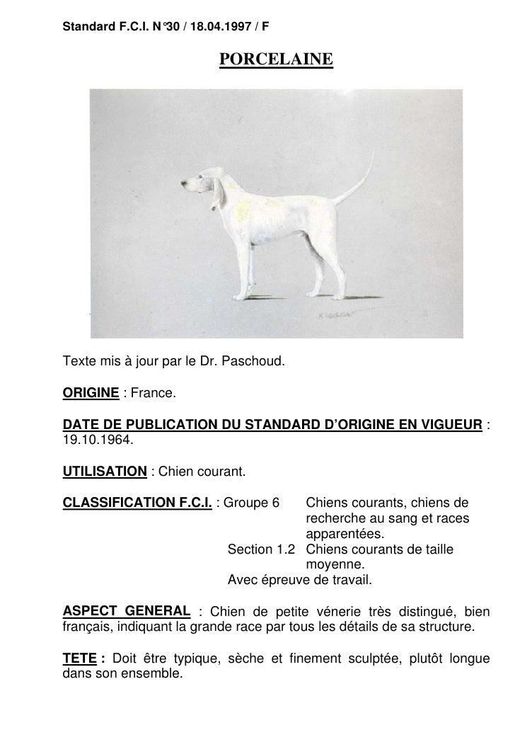 Standard F.C.I. N°30 / 18.04.1997 / F                            PORCELAINETexte mis à jour par le Dr. Paschoud.ORIGINE : ...