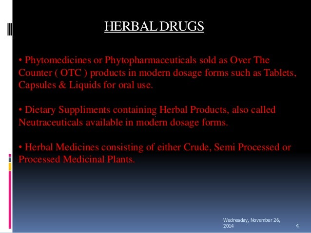 standardization of herbal drugs