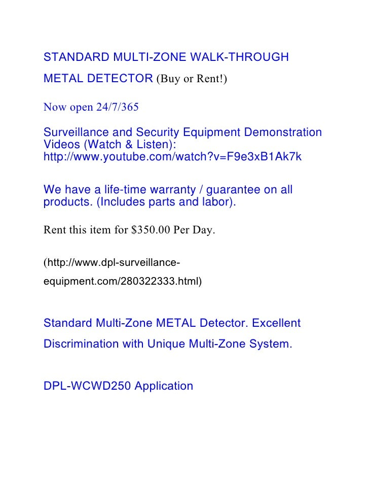 Standard Multi Zone Walk-Through Metal Detector (Buy or Rent!)