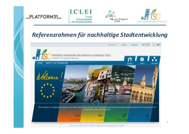 Referenzrahmen für nachhaltige Stadtentwicklung 1