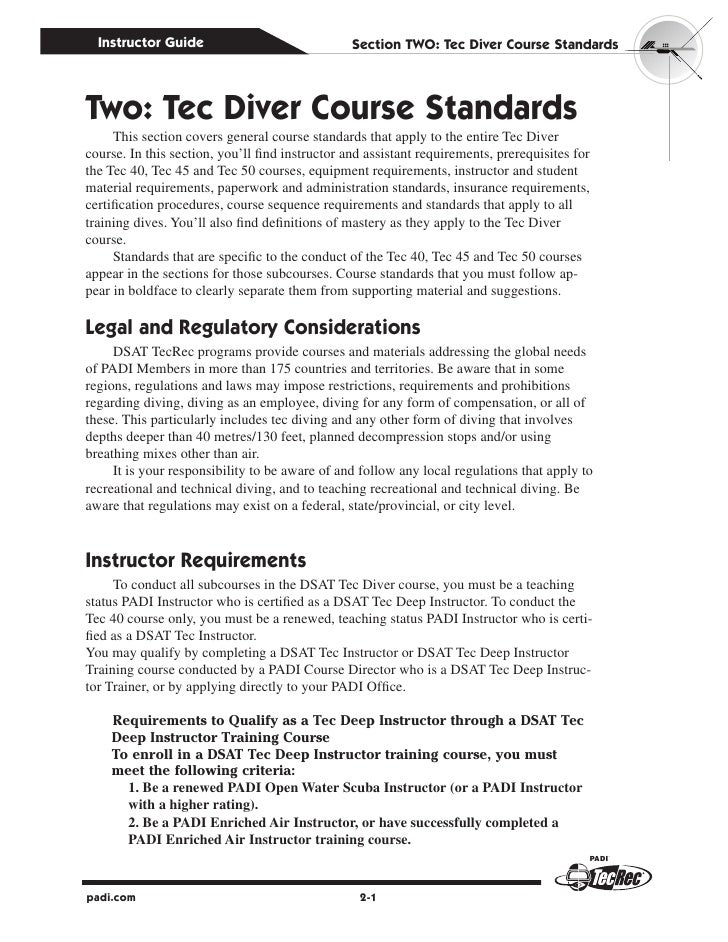 Instructor Guide                               Section Two: Tec Diver Course StandardsTwo: Tec Diver Course Standards     ...