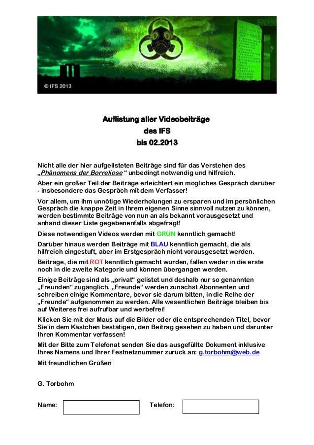 Auflistung aller Videobeiträge bis 02.2013