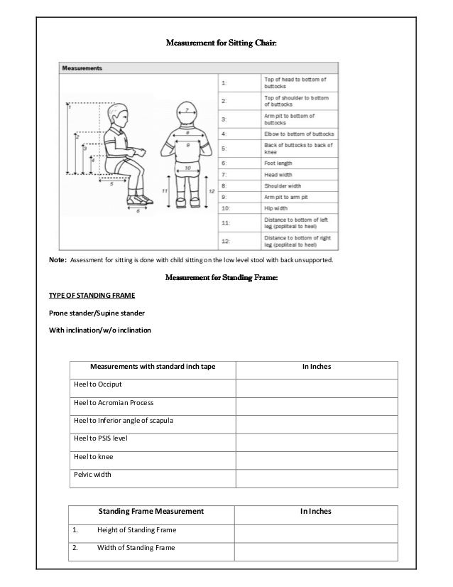 Standing Frame Cum Sitting Assessment Form For Special Needs