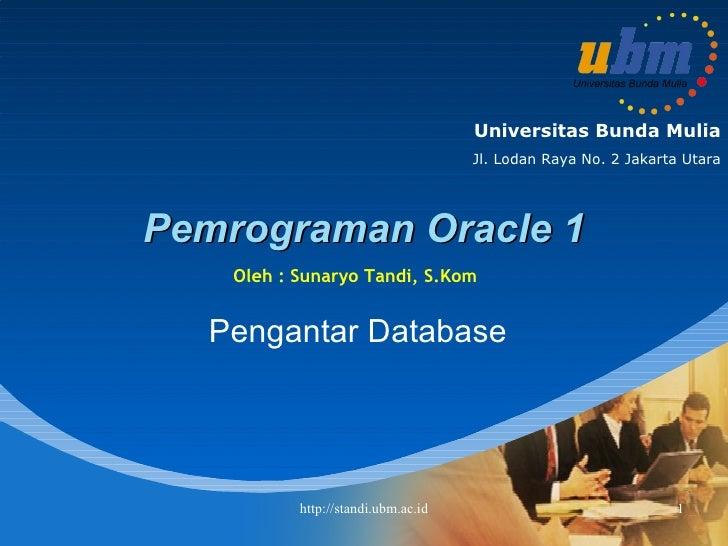 Pemrograman Oracle 1 Pengantar Database Oleh : Sunaryo Tandi, S.Kom