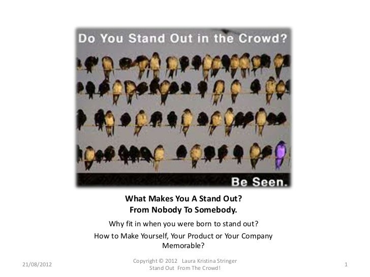 What Makes You A Stand Out?                      From Nobody To Somebody.                Why fit in when you were born to ...