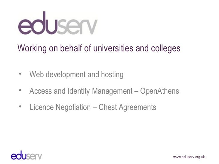 <ul><li>Licence Negotiation – Chest Agreements </li></ul><ul><li>Access and Identity Management – OpenAthens </li></ul><ul...