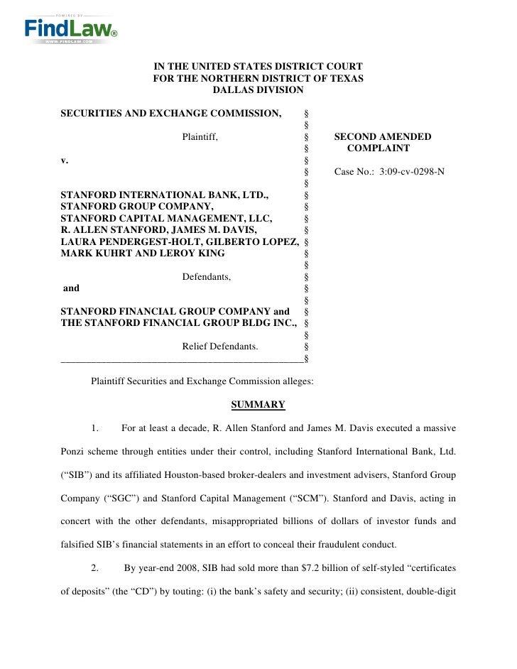 FindLaw | SEC v. Stanford International Bank, et al.