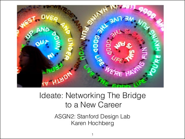 ASGN2: Stanford Design Lab Karen Hochberg Ideate: Networking The Bridge to a New Career !1