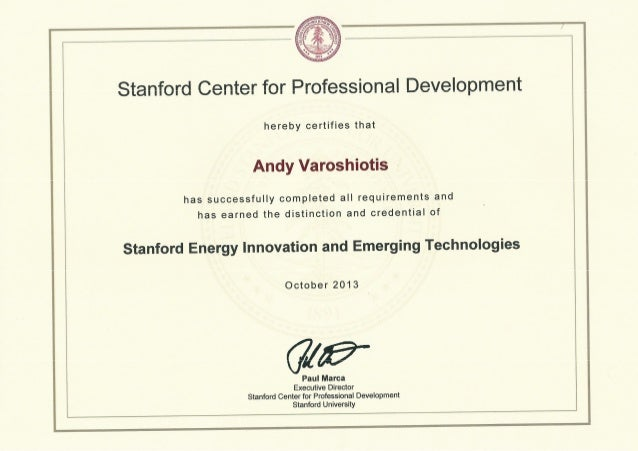 Stanford University Energy Innovation and Emerging Technologies Certificate