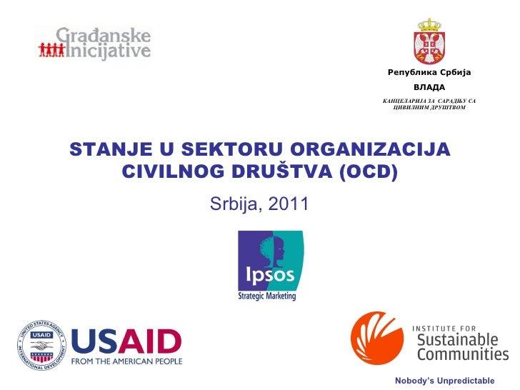 STANJE U SEKTORU  ORGANIZACIJA CIVILNOG DRU Š TVA  (OCD) Srbija, 2011 КАНЦЕЛАРИЈА ЗА  САРАДЊУ СА ЦИВИЛНИМ ДРУШТВОМ ВЛАДА Р...