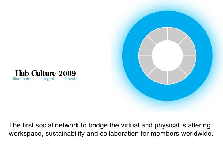 Hub Culture 2009 Illuminate.  Integrate.  Elevate. The first social network to bridge the virtual and physical is altering...