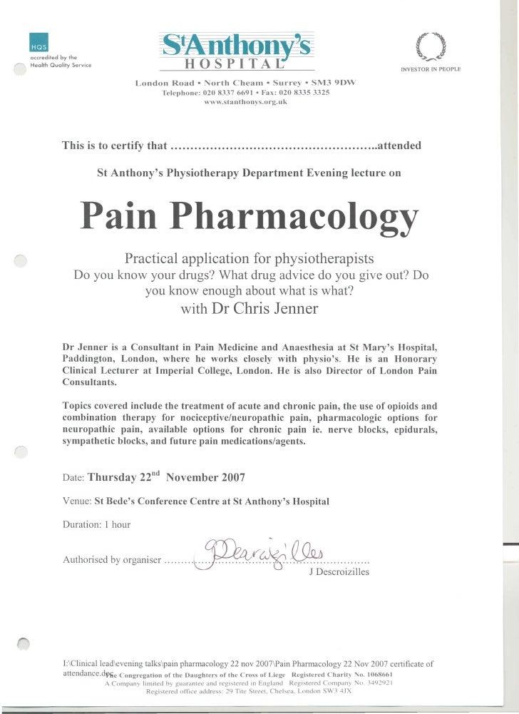 St Anthony's   pain pharmacology