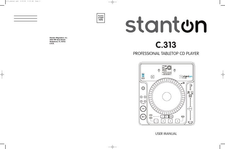 C.313 PROFESSIONAL TABLETOP CD PLAYER               USER MANUAL