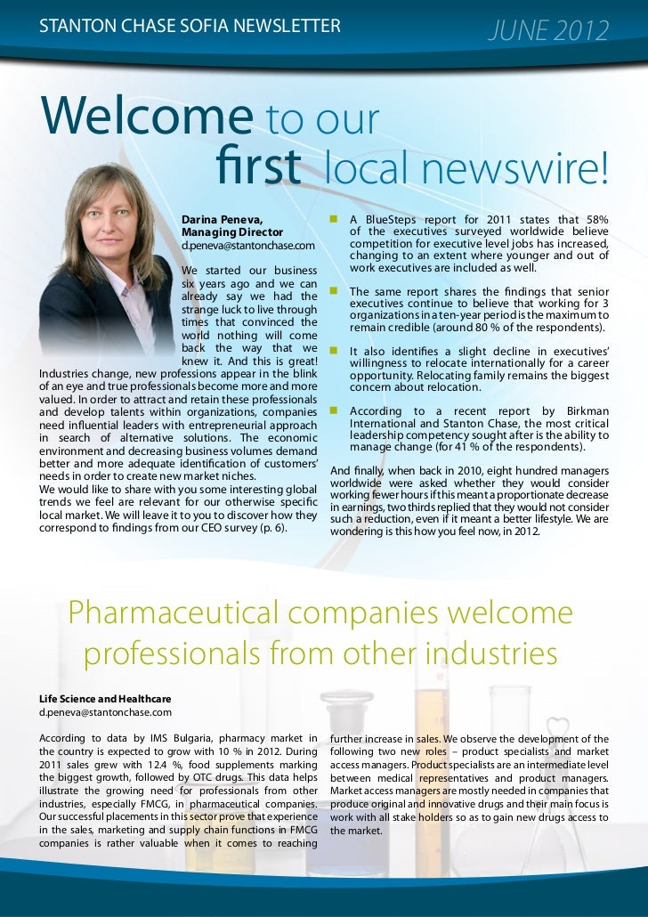 STANTON CHASE SOFIA NEWSLETTER                                                                      JUNE 2012Welcome to ou...