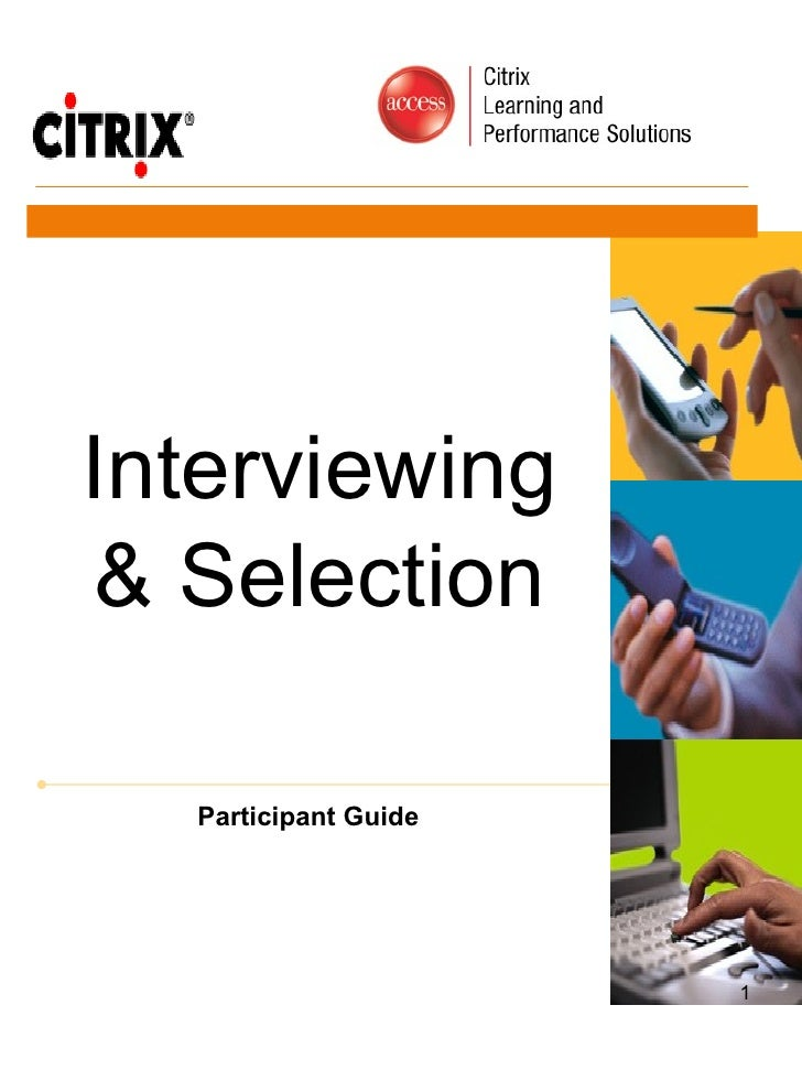 Interviewing & Selection Participant Guide