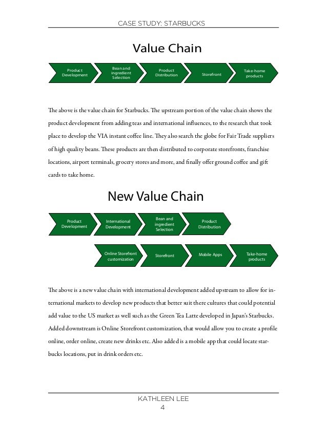 value chain of starbucks Starbucks' value chain system, in the beginning, created additional value on its products, which the customers are willing to pay for hence, the firm is not .