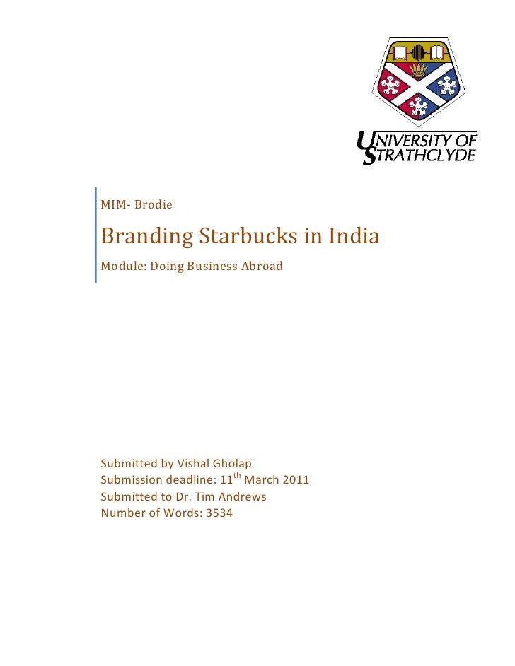 Branding Starbucks in India