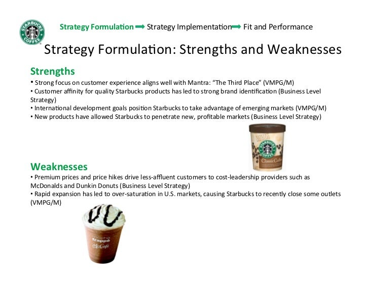 strengths weaknesses of starbucks The powerful swot analysis framework in a nutshell - definition, framework introduction, example of starbucks, sample template / tool and more.