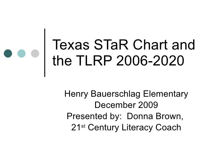 Texas STaR Chart and the TLRP 2006-2020 Henry Bauerschlag Elementary December 2009 Presented by:  Donna Brown,  21 st  Cen...