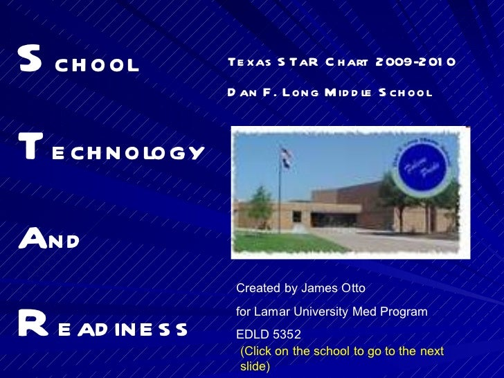 S chool T echnology a nd R eadiness Texas STaR Chart  2009-2010 Dan F. Long Middle School Created by James Otto  for Lamar...
