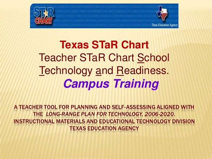 Texas STaR Chart<br />Teacher STaR Chart School Technology and Readiness.<br />Campus Training<br /> A Teacher Tool for P...
