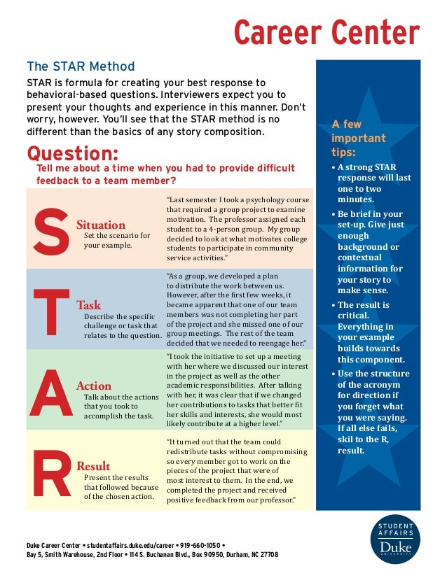 Career Center  The STAR Method  STAR is formula for creating your best response to  behavioral-based questions. Interviewe...