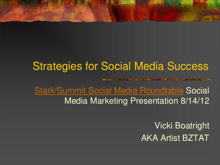 Strategies for Social Media SuccessStark/Summit Social Media Roundtable Social       Media Marketing Presentation 8/14/12 ...