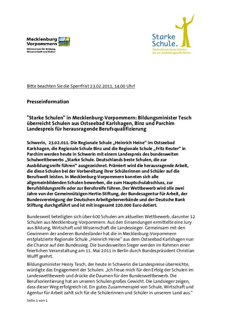 """Bitte beachten Sie die Sperrfrist 23.02.2011, 14.00 Uhr!Presseinformation""""Starke Schulen"""" in Mecklenburg-Vorpommern: Bildu..."""