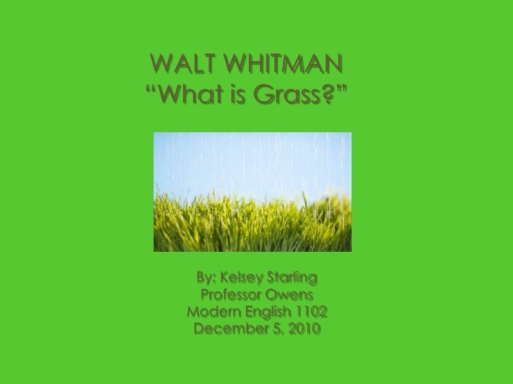 "WALT WHITMAN""What is Grass?""<br />By: Kelsey Starling<br />Professor Owens<br />Modern English 1102<br />December 5, 2010<..."