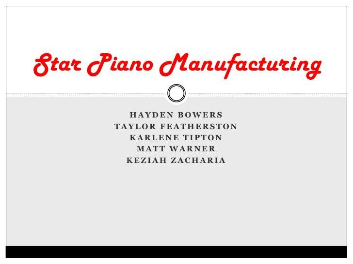 Hayden Bowers<br />Taylor Featherston<br />Karlene Tipton<br />Matt Warner<br />Keziah Zacharia<br />Star Piano Manufactur...