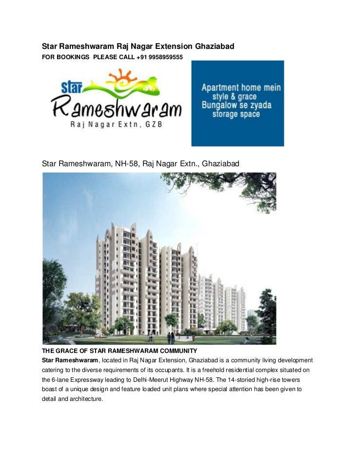 Star Rameshwaram Raj Nagar Extension GhaziabadFOR BOOKINGS PLEASE CALL +91 9958959555Star Rameshwaram, NH-58, Raj Nagar Ex...