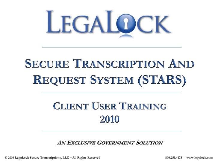 Stars Client Training 2010