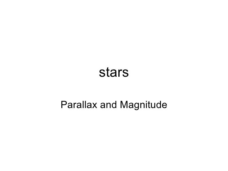 stars Parallax and Magnitude