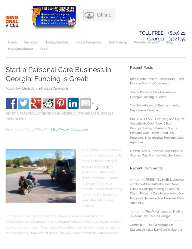 Start a personal care business in georgia: funding is great! personal care business consultants