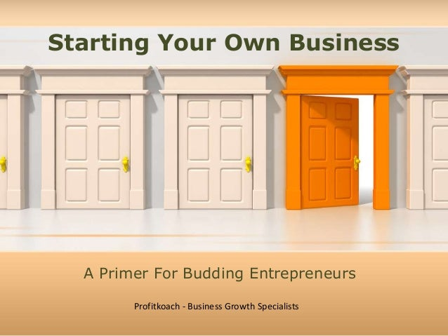 Starting Your Own Business  A Primer For Budding Entrepreneurs  Profitkoach - Business Growth Specialists