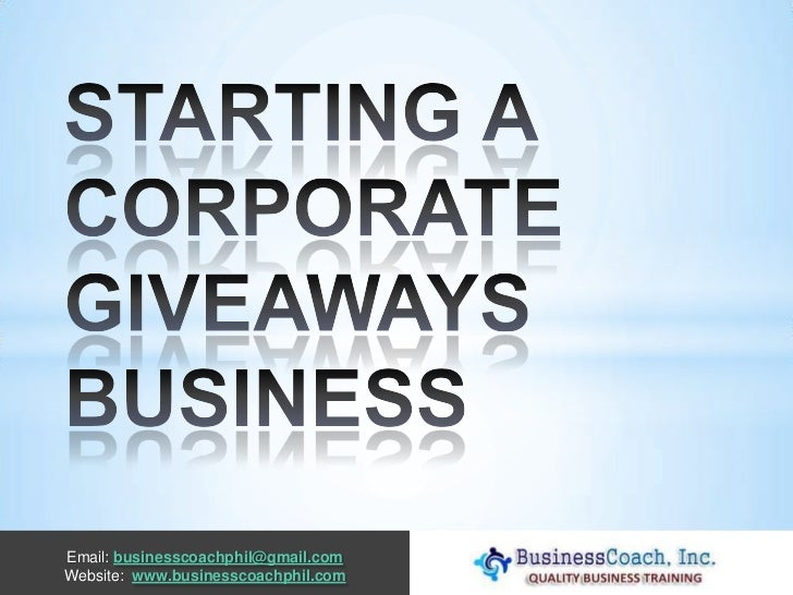 Starting a corporate giveaways business